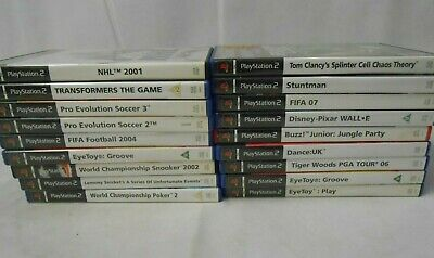 PS2 Games x18 Playstation Bundle Job Lot Eyetoy Walle NHL Transformers Splinter