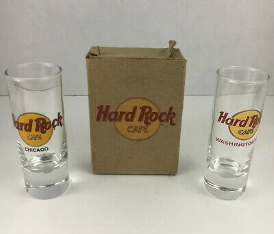 """Lot of (2) HARD ROCK CAFE - 4"""" Shot Glass Shooters, WASHINGTON DC And CHICAGO"""