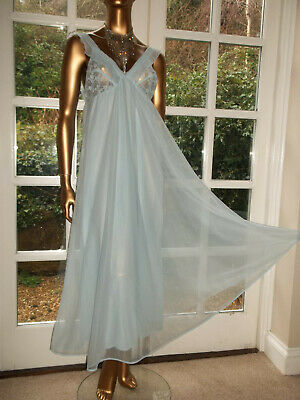 "Vtg 70s Double Layer Nylon Lacy Full Sweep Nightie Nightdress Gown 36"" TallGirl"