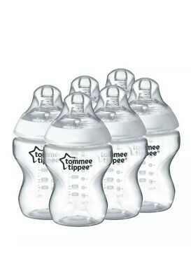 Pack of 6 Tommee Tippee Closer To Nature Clear 260ml Baby Feeding Bottles