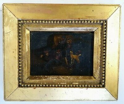 Antique 18Th/19Th Century Oil On Panel Miniature Hunting Scene With Dogs