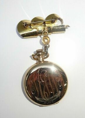 Antique ELGIN Open Face 14K Gold Plated Pocket Watch From Japan Rare