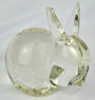 Vintage Solid Art Glass Rabbit Paperweight with Controlled Bubbles