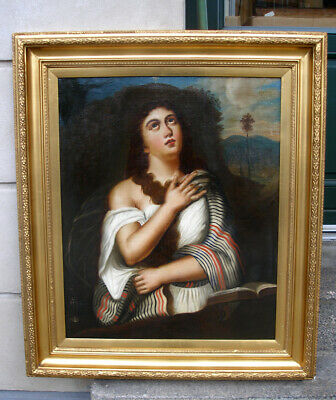Superb 17th century British oil. The Penitent Mary Magdalene. Large!