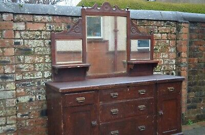 Large Victorian Painted Mirror Backed Rustic Carved Sideboard Dresser Cabinet