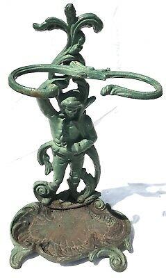 # Lovely Antique Vintage 'Man In Vines' Stick Stand Cast Iron Metal Solid