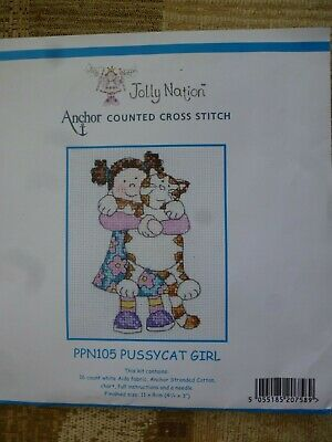 Cute Anchor counted cross stitch kit - pussycat girl - little girl and her cat