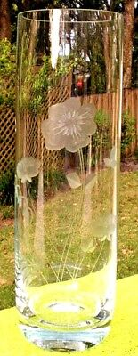 Vase Etched Clear Glass Column Container Flower Country Kitchen Home Art Foral
