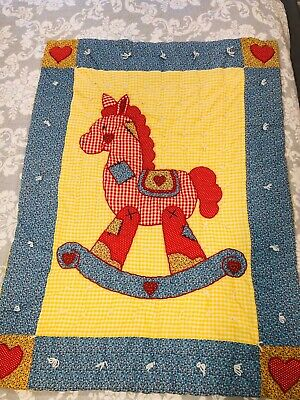 Handmade Patchwork Baby Crib Quilt Rocking Horse Primary Colors Gingham Unisex