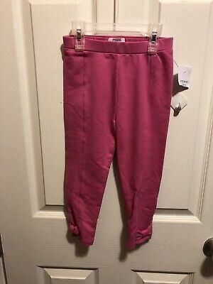 Crown & Ivy Leggings Girls Size 5 Color Pink w/ Bows On Bottom Of Legs