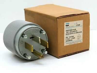 Arrow Hart 5745N Straight Blade NEMA 14-50P Plug 50A 125/250V 3-Pole 4-Wire Gray