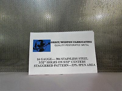 """3/32"""" Hole On 5/32"""" Center-16 Ga.- Perforated 304 Stainless Sheet----12"""" X 12"""""""