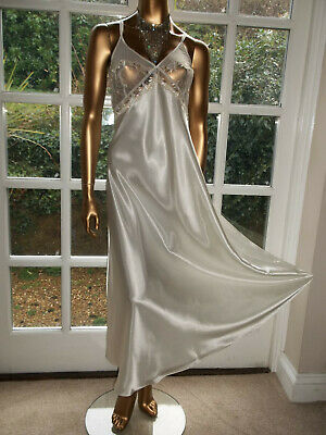 Vtg Style Liquid Satin Embroidered Nightie Nightdress Gown UK16-18 Tall Girl