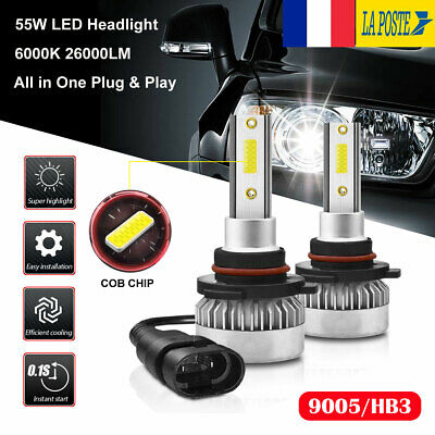 Paire 55W 26000LM 9005 HB3 LED Ampoules Voiture Phare Feux Lampe Kit Blanc 6000K