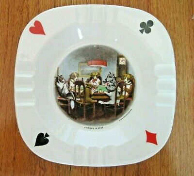 A Friend In Need Dogs Playing Poker Ashtray Brown & Bigelow Minn. Vintage