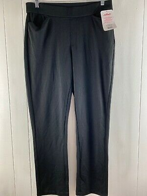 NWT Chic Classic Collection Womens Pants Black Knit Pull On Stretch Size 14
