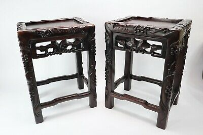 Carved Ebonized Tables Small Pair Plant Stands Stools Grapes Vines Leaves Wooden