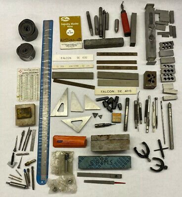 Machinist Tool Lot Lufkin General USA Carbides Stones Punches Lathe Ruler Clamps