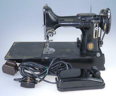 Vintage Singer Featherweight 221 Electric Sewing Machine with Foot Pedal
