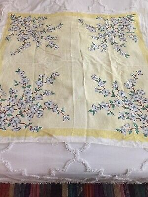 Vintage Mid Century WILENDUR DOGWOOD? Yellow Floral Tablecloth 47x48