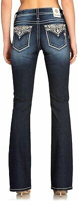 NEW MISS ME WOMEN D863 STAND BY ME BIG CROSS  FLAP POCKETS BOOT CUT JEANS