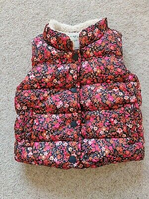Next Kids Floral Pink Girls Padded Fleece Lined Gilet 6-9 Months