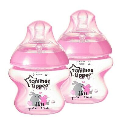 NEW Tommee Tippee Closer to Nature Feeding Baby Bottles 5 oz -2 Count Pink Bunny