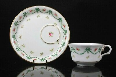 Rare Antique Coalport BRUFF Cup Saucer Ribbon and Bow Pattern Circa 1895