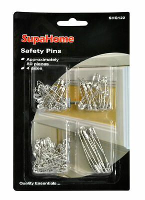 Safety Pins 4 Sizes Pack of 80 - FREE UK POSTAGE