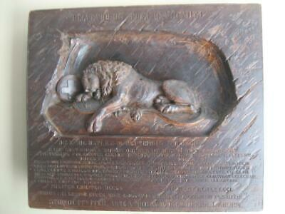 """Huge DYING LION OF LUCERNE Switzerland 18"""" x 15"""" Carved Relief Plaque"""