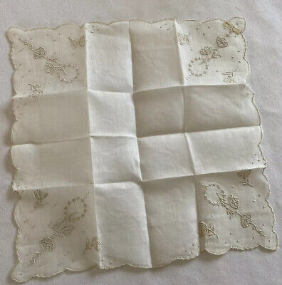 Vintage Floral on White Handkerchief w Made in Madeira Portagul Label