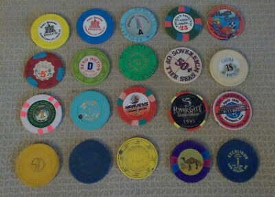 Lot Of 20 Mixed Denomination Hotel Casino Gaming Chips ~ Various Locations (#2)