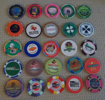 Lot Of 25 Mixed Non-Gaming Hotel Casino Sample Poker Chips ~ (#5)