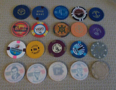 Lot Of 20 Mixed Denom. Hotel Casino Gaming Poker Chips ~ Various Locations (#7)