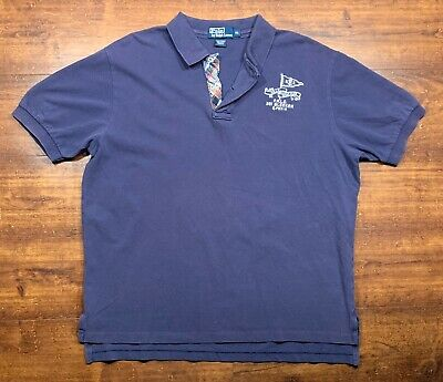 Polo By Ralph Lauren Mens Size XL Polo Rugby Shirt 'R.L Yacht Club 1967' Purple