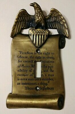 Vintage Patriotic Eagle & Shield Thomas Jefferson Quote Light Switch Plate Cover