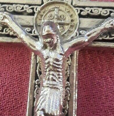 Lrg Sterling Silver Filled St Benedict Crucifix Cross Art Deco Pendant Necklace