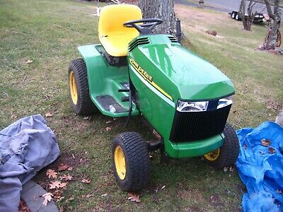 "john deere gt 275 garden tractor with 42"" front snowblower, new hood and grill,"