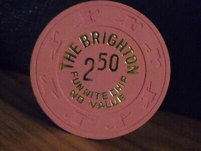 THE BRIGHTON CASINO FUN NITE CHIP 2.50 NO VALUE hotel gaming poker chip ~ NJ
