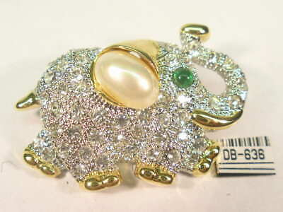 DESIGNER  ELEPHANT PIN BROOCH  with  SWAROVSKI CRYSTALS & FAUX PEARL  #634