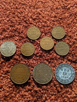 Canada 9 coin lot of early mid-grade large and small cents from 1906 to 1932