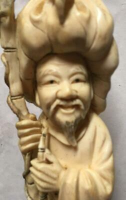 Fine Antique 1800's Chinese Hand Carved Large Fisherman Figures Sculpture