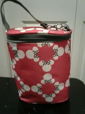 Disney Minnie Insulated Water Baby Drink 2 Bottle Holder Removeable Divider EUC