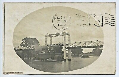 1908 RP PU POSTCARD OF PS MARION BARGE UNDER BRIDGE WENTWORTH NSW GD COND i36