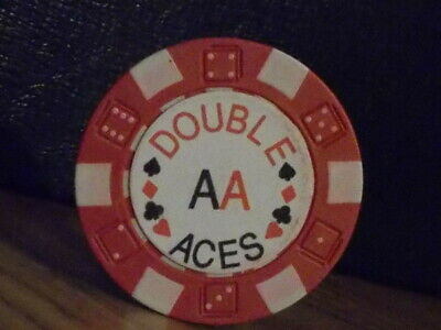 DOUBLE ACES NO CASH VALUE SHOWN  hotel casino gaming poker chip