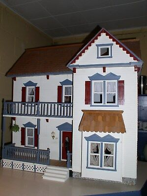 Vintage Beautiful Victorian Wooden Dollhouse Assembled 8 Rooms Fully Furnished!