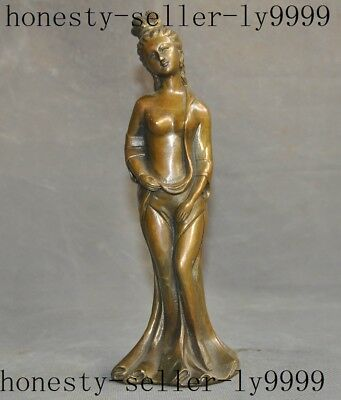old Chinese bronze copper nude beauty woman statue