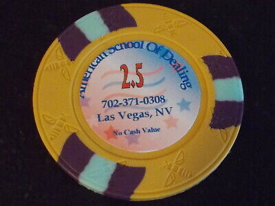 AMERICAN SCHOOL OF DEALING 2.5 NCV Casino gaming poker Chip ~ Las Vegas, NV