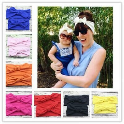 Girl Cotton Mommy and Baby Headwear Rabbit Ear Turban Knot Headband Hairband