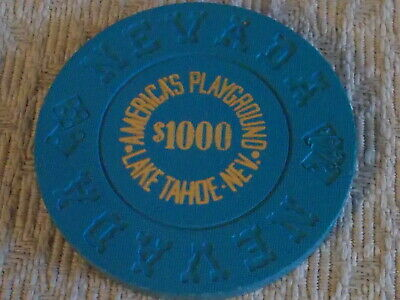 AMERICA'S PLAYGROUND CASINO $1000 hotel casino gaming poker chip ~ Lake Tahoe NV